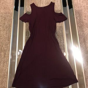 Burgundy colored off the shoulder dress